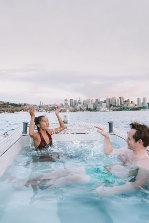 Hot tub boat - view of Downtown Seattle